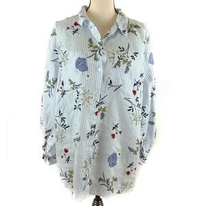 Charter Club Top XXL White Blue Floral